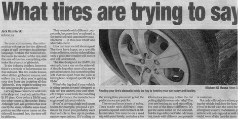 Tires can tell us and tire industry experts important information.